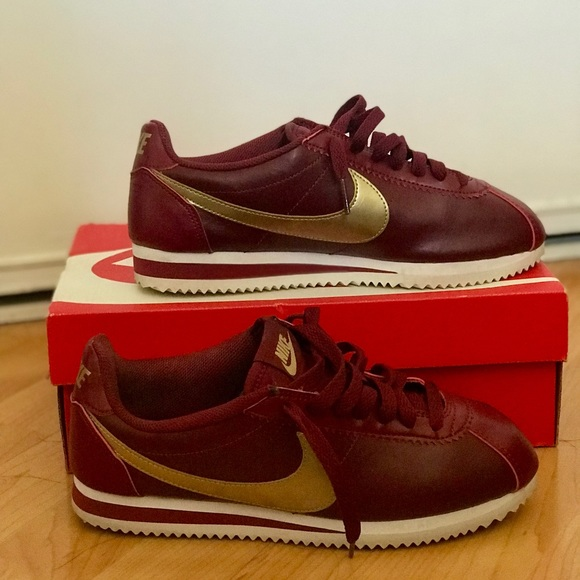 info for 519bc d7792 Burgundy and Gold Leather Nike Cortez
